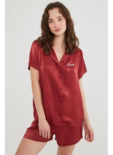 Penti Kırmızı Love Satin Gömlek Şort Takımı Kırmızı